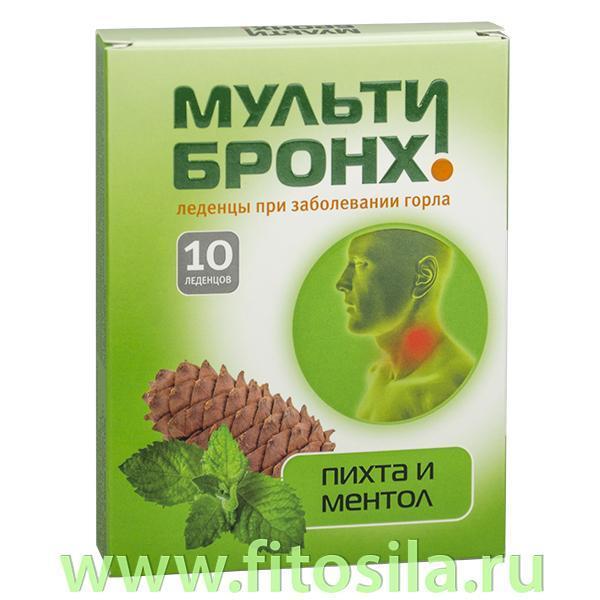 Мульти-Бронх растительные пастилки со вкусом пихта с ментолом - БАД, 10 шт. х 3250 мг (при заболевании горла)