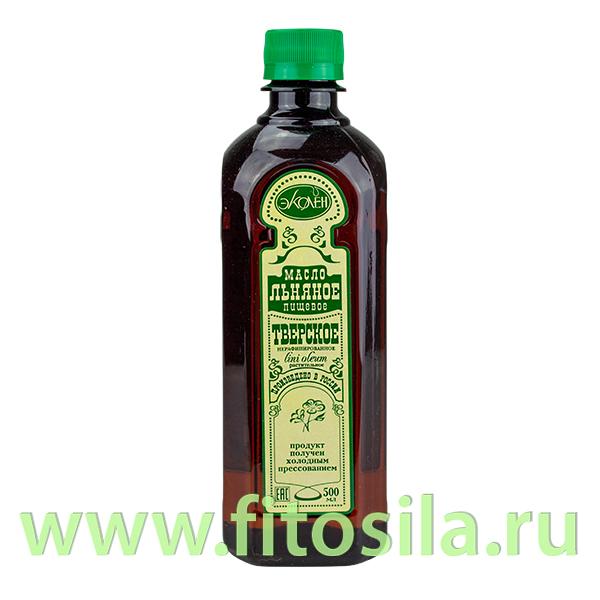 """Льняное """"Тверское"""" масло пищевое нерафинированное 0,5 л"""
