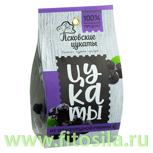 Цукаты из ЧЕРНОПЛОДНОЙ РЯБИНЫ (черноплодная рябина, сахар), 90г, Псковские цукаты