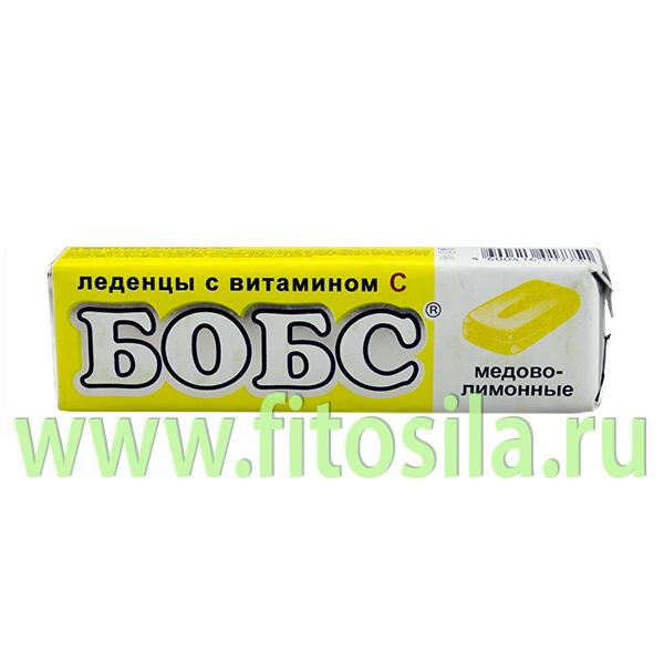 """Бобс """"Медово-лимонные"""" с витамином """"С"""" леденцы от кашля - БАД, 35 г, 10 шт."""