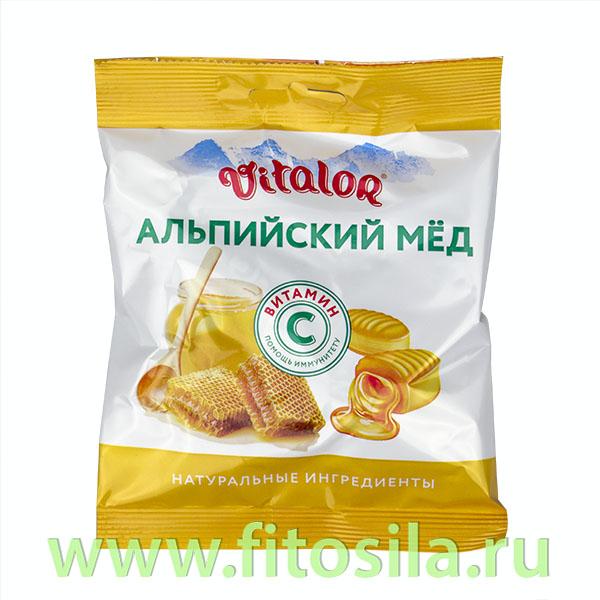Виталор® Альпийский мед, леденцовая карамель со вкусом меда с витамином С - БАД, 60 г
