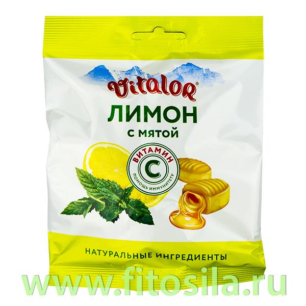 Виталор® Лимон с мятой, леденцовая карамель с витамином С - БАД, 60 г