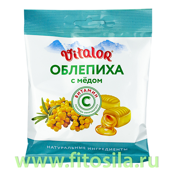 Виталор® Облепиха с медом, леденцовая карамель с витамином С - БАД, 60 г