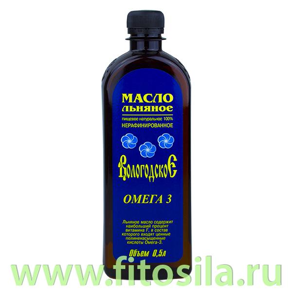 """Льняное масло """"Вологодское"""" 0,5 л (Компас Здоровья)"""