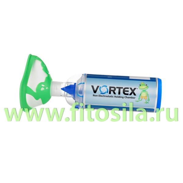 """Антистатическая клапанная камера/спейсер VORTEX тип 051 с маской """"Лягушонок"""" для детей старше 2 лет"""